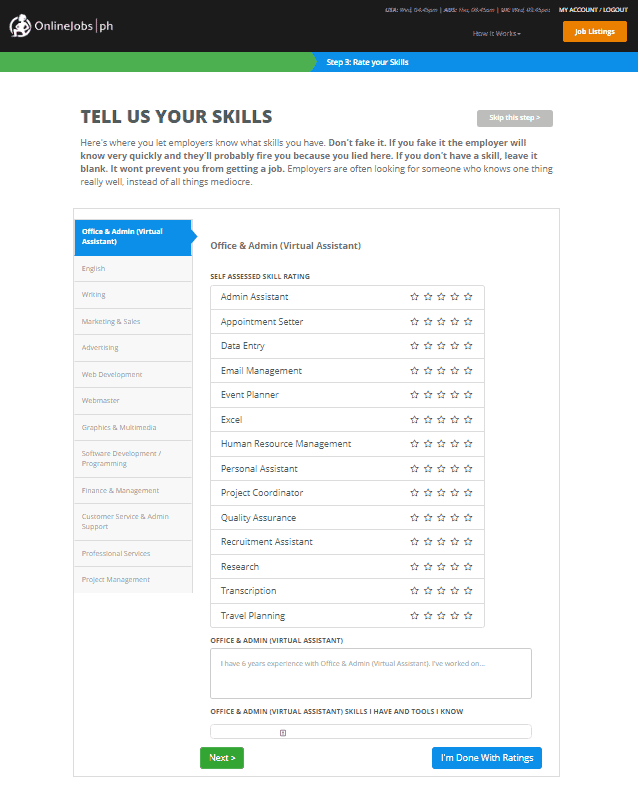 Skills are important part in creating an Onlinejobs.ph Profile
